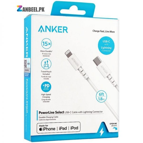 Anker PowerLine Select USB C To Lightning Cable 6ft