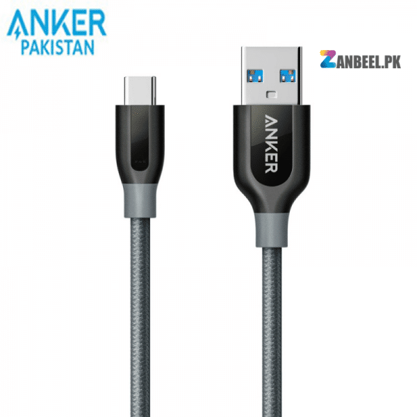 Anker PowerLine USB C To USB 3.0 Cable 3ft. Gray.